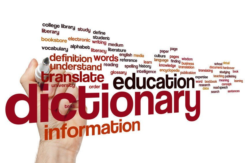 Dictionary concept word cloud background
